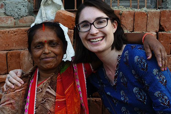 Jessica Carter, Asia Health Program Director, (right) in Uttar Pradesh, India with Asha, a community member participating in Opportunity's health program.