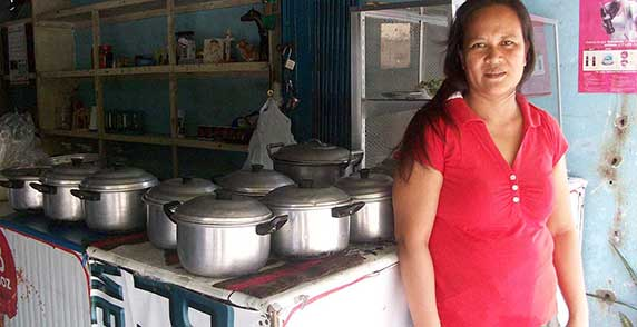 After using a small loan to start an eatery in her village in the Philippines, Rosalie  (pictured) took out low-cost microinsurance to protect her family in case something should   happen to her. Because she's using her income to send her children to school, Rosalie  wanted to make sure they'd be able to continue their studies whatever happened.  Your support provides security to families like Rosalie's, helping them stay above water when an unexpected hardship occurs.